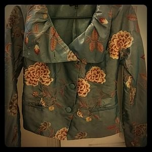 Green with red/white floral blazer - never worn